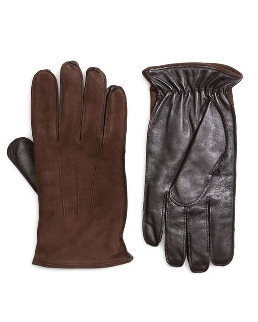 Brooks Brothers | Brown Leather And Suede Touch Screen Gloves for Men | Lyst