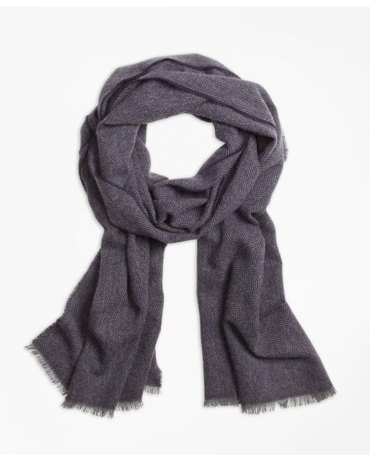 Brooks Brothers - Blue Cashmere Herringbone Scarf for Men - Lyst