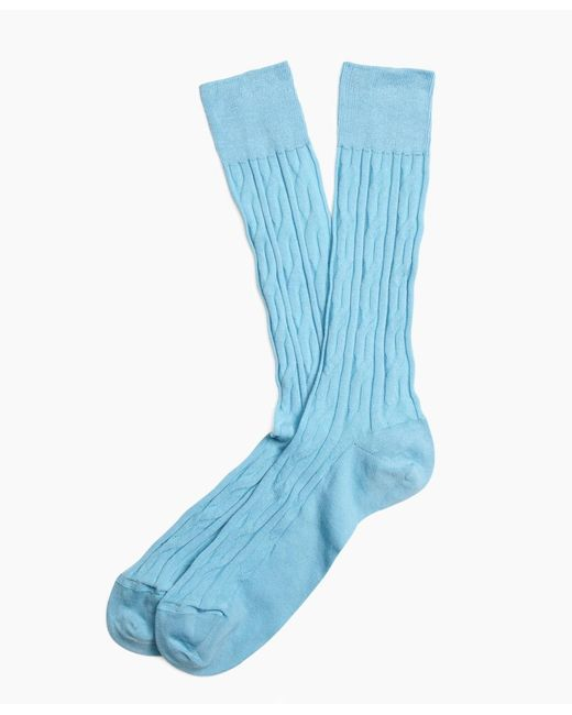 Brooks Brothers | Blue Cable Crew Socks for Men | Lyst