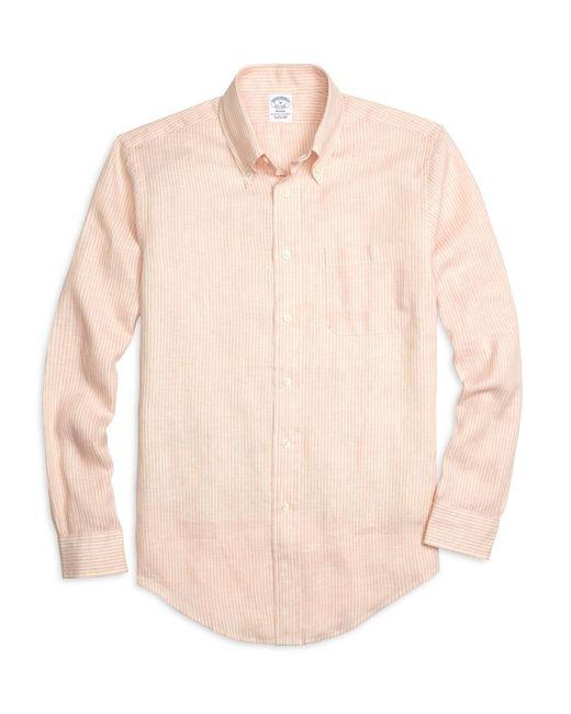 Brooks Brothers | Orange Regent Fit Stripe Linen Sport Shirt for Men | Lyst