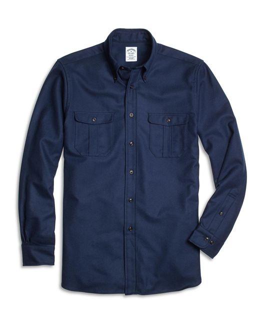 Brooks Brothers | Blue Regent Fit Saxxon Wool Sport Shirt for Men | Lyst