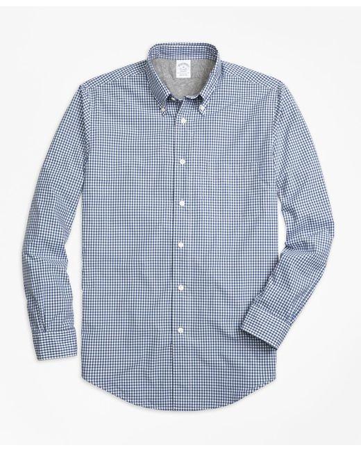 Brooks Brothers   Blue Regent Fit Cotton Jersey Lined Gingham Sport Shirt for Men   Lyst