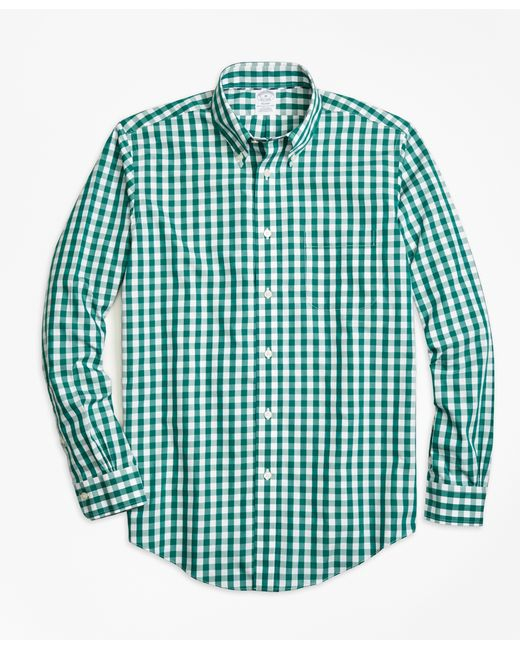 Brooks Brothers | Green Non-iron Regent Fit Gingham Sport Shirt for Men | Lyst