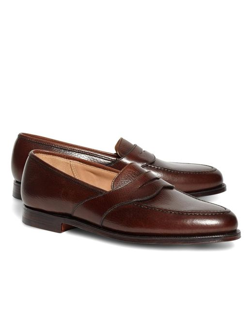 Brooks Brothers | Peal & Co.® Dark Brown French Pebble Leather Saddle Strap Penny Loafers for Men | Lyst