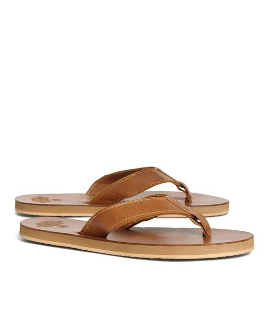 Brooks Brothers | Brown Leather Flip-flops for Men | Lyst