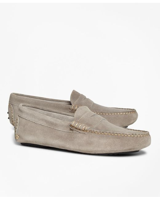 Brooks Brothers | Gray Suede Driving Mocs for Men | Lyst