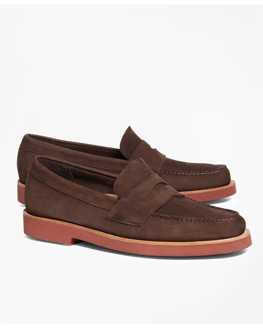 Brooks Brothers | Brown Nubuck Penny Loafers for Men | Lyst