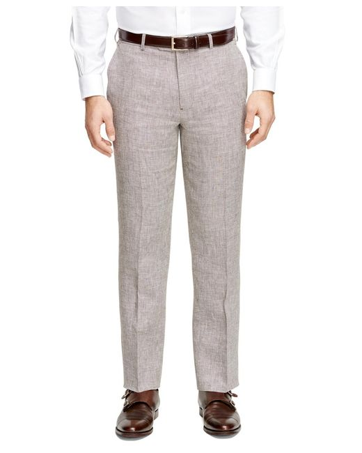 Brooks Brothers | Brown Fitzgerald Fit Linen Check Trousers for Men | Lyst