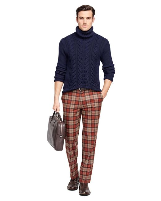 Brooks brothers fitzgerald fit tartan trousers in red for for Brooks brothers dress shirt fit guide