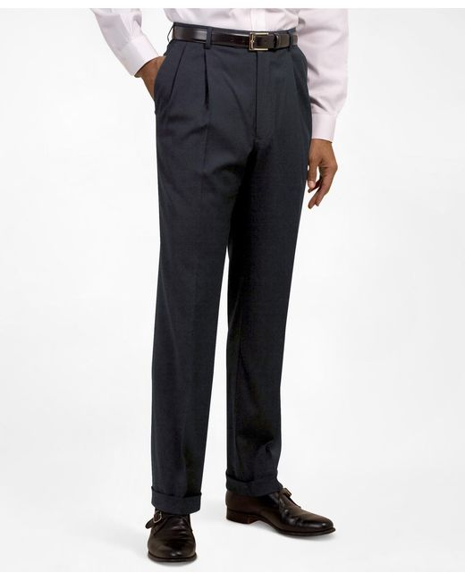 Brooks Brothers   Blue Pleat-front Suiting Essential Trousers for Men   Lyst