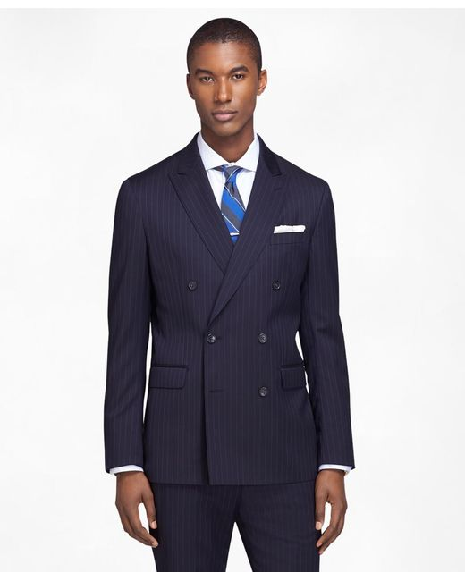 Brooks Brothers | Blue Milano Fit Double-breasted Stripe 1818 Suit for Men | Lyst
