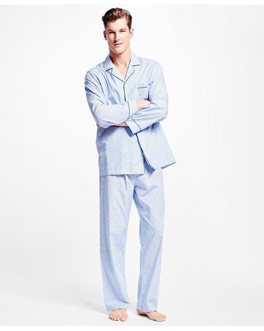 Brooks Brothers   Blue Framed Gingham Pajamas for Men   Lyst