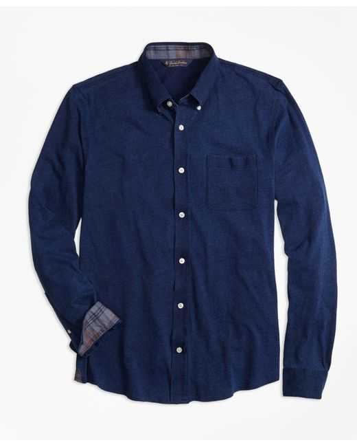 Brooks brothers indigo knit button down shirt in blue for for Indigo button down shirt