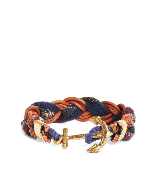 Brooks Brothers | Blue Kiel James Patrick Wool Signature Tartan And Leather Braid Bracelet for Men | Lyst