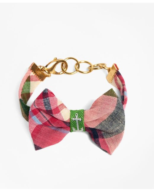Brooks Brothers | Kiel James Patrick Pink And Green Madras Bow Bracelet | Lyst