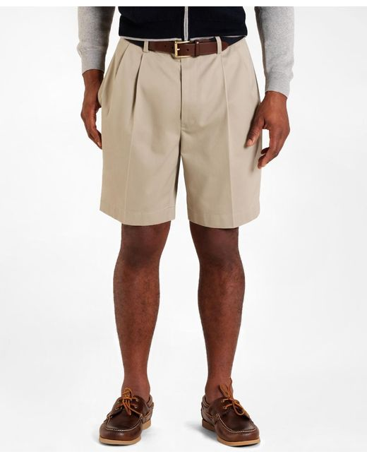 Brooks Brothers | Natural Pleat-front Lightweight Advantage Shorts for Men | Lyst