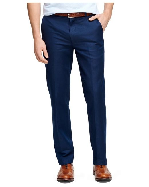 Brooks Brothers | Blue Clark Fit Linen And Cotton Pants for Men | Lyst