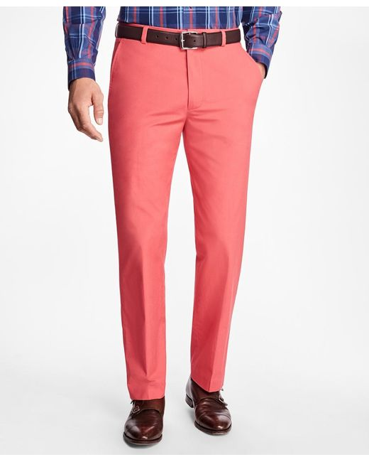 Brooks Brothers | Red Clark Fit Supima® Cotton Poplin Pants for Men | Lyst