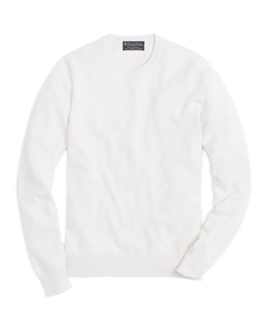 Brooks Brothers | White Cashmere Crewneck Sweater for Men | Lyst