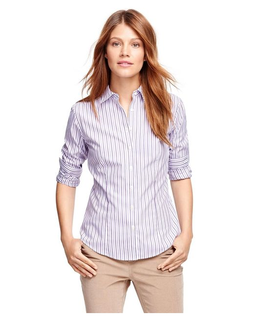 Brooks Brothers | Purple Petite Non-iron Fitted Supima® Cotton Stripe Dress Shirt | Lyst