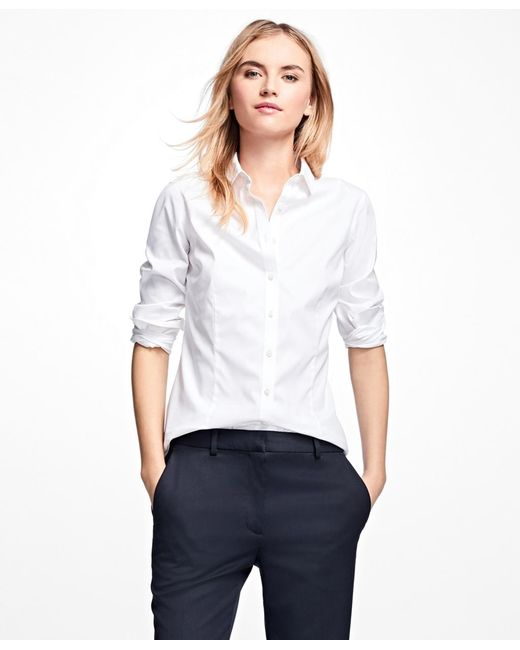 Brooks Brothers | White Petite Non-iron Tailored-fit Dress Shirt | Lyst