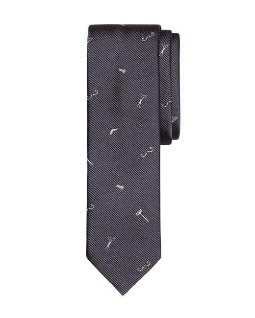 Brooks Brothers | Gray Barber Shop Motif Slim Tie for Men | Lyst