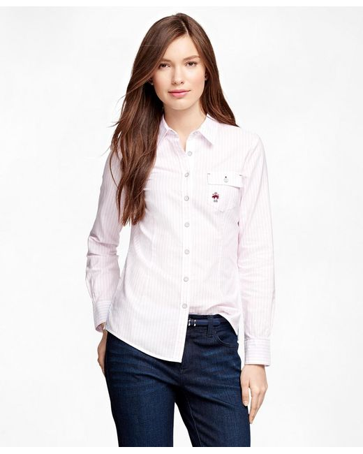 Brooks Brothers | Pink Supima® Cotton Oxford Stripe Shirt | Lyst