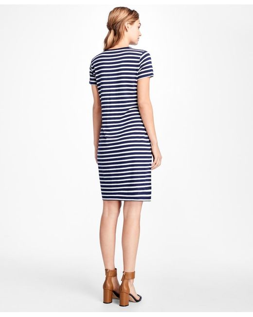 Brooks Brothers Striped Tee Shirt Dress In Blue Lyst