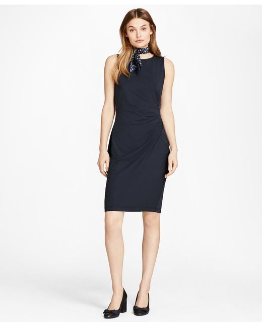 Brooks Brothers | Blue Ruched Ponte Sheath Dress | Lyst