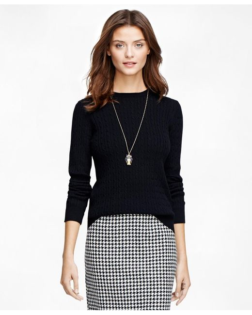 Brooks Brothers | Black Cashmere Cable Crewneck Sweater | Lyst