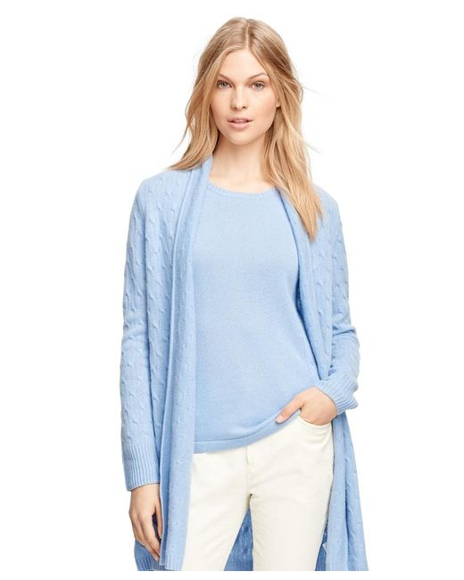 Brooks Brothers | Blue Cashmere Cable Long Cardigan | Lyst