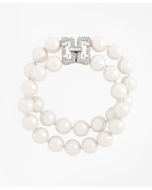 Brooks Brothers | White Two-row 12mm Glass Pearl Bracelet | Lyst