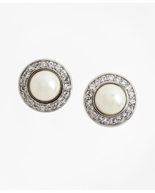Brooks Brothers | Metallic 8mm Pave Glass Pearl Earrings | Lyst
