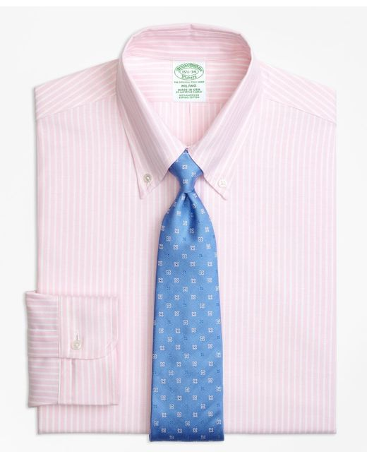 Brooks Brothers - Pink Original Polo® Button-down Oxford Milano Slim-fit Dress Shirt, Ground Stripe for Men - Lyst