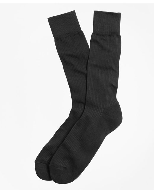 Brooks Brothers - Black Cotton Cushion Sole Socks for Men - Lyst