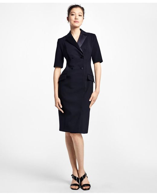 Brooks Brothers - Black Double-breasted Tuxedo Dress - Lyst