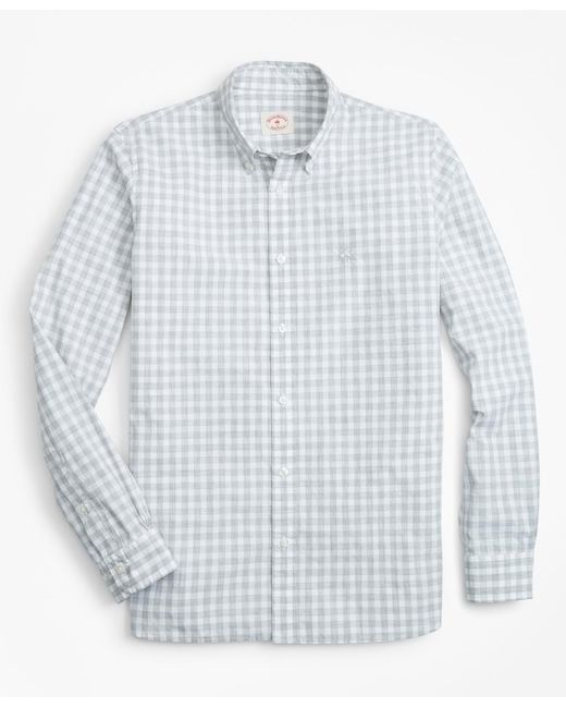 Brooks Brothers - Gray Gingham Broadcloth Sport Shirt for Men - Lyst
