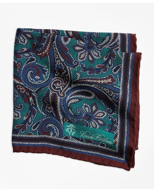 Brooks Brothers - Green Paisley And Dot Pocket Square for Men - Lyst