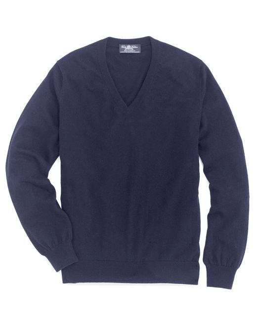 Brooks Brothers - Blue Country Club Lightweight Cashmere V-neck for Men - Lyst