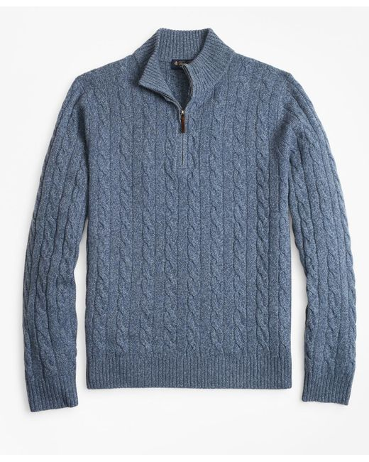 Brooks Brothers - Blue Marled Cable Half-zip for Men - Lyst