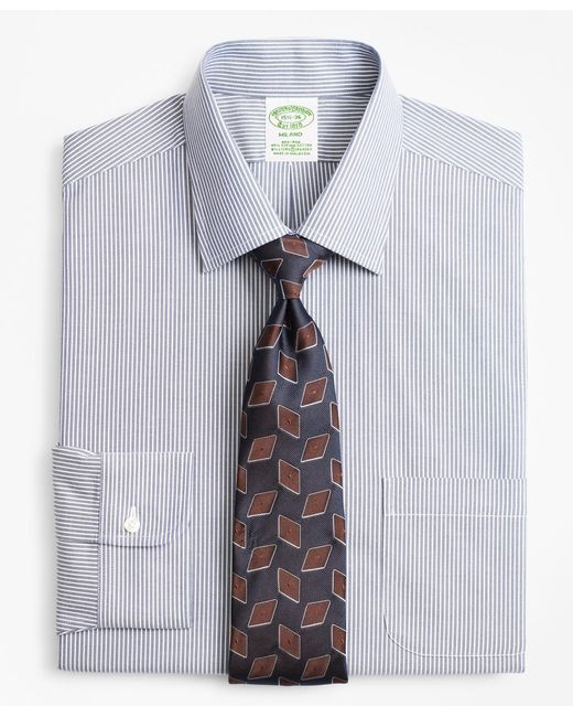 Brooks Brothers - Blue Stretch Milano Slim-fit Dress Shirt, Non-iron Narrow Ground Stripe for Men - Lyst