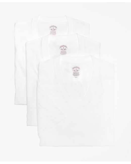 Brooks Brothers - White Supima® Cotton V-neck Undershirt - Three Pack for Men - Lyst