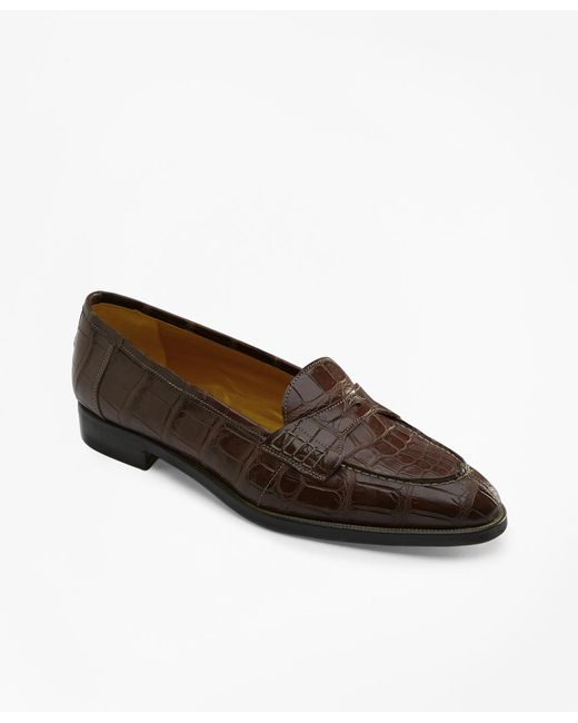 Brooks Brothers - Brown Alligator Loafers - Lyst
