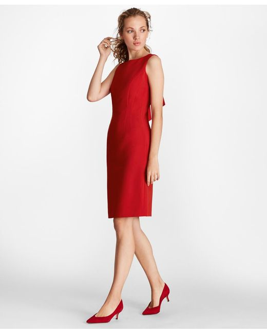 Brooks Brothers - Red Double-weave Tie-back Sheath Dress - Lyst