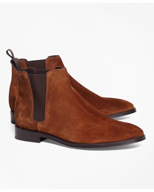 Brooks Brothers - Brown Suede Chelsea Boots for Men - Lyst