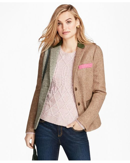 Brooks Brothers | Multicolor Patchwork Wool Tweed Jacket | Lyst