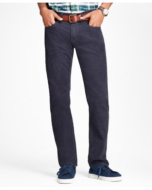 Brooks Brothers | Blue Garment-dyed 15-wale Stretch Corduroy Pants for Men | Lyst