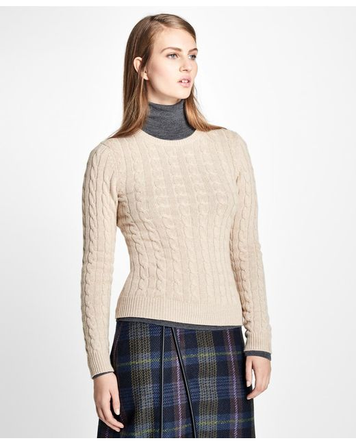 Brooks Brothers - Multicolor Cashmere Cable Crewneck Sweater - Lyst