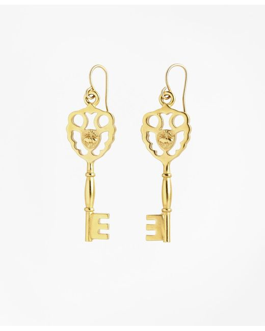 Brooks Brothers | Metallic Gold-plated Key Drop Earrings | Lyst
