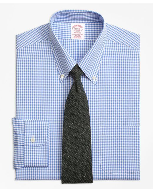Brooks Brothers - Blue Madison Classic-fit Dress Shirt, Non-iron Dobby Gingham for Men - Lyst